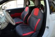 Фото 3 - Чехлы MW Brothers Fiat 500 (2007-н.д.),  полностью графитовые+красные вставки