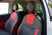 фото 4 - Чехлы MW Brothers Fiat 500 (2007-н.д.),  полностью графитовые+красные вставки