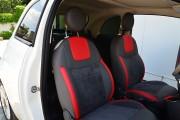 Фото 8 - Чехлы MW Brothers Fiat 500 (2007-н.д.),  полностью графитовые+красные вставки