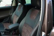 Фото 3 - Чехлы MW Brothers Skoda Octavia A7 Ambition, Elegance (2013-2016), коричневая алькантара + коричневая нить