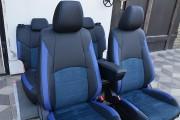 Фото 3 - Чехлы MW Brothers Mazda CX-3 (2015-н.д.), синяя алькантара + синие вставки