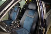фото 2 - Чехлы MW Brothers BMW 3 (E46) (1998-2007), синяя алькантара + синяя нить