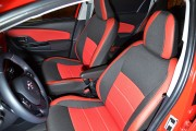 Фото 2 - Чехлы MW Brothers Toyota Yaris III (2010-2014), красные вставки + красная нить