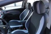 Фото 5 - Чехлы MW Brothers Chevrolet Aveo T300 (2012-н.д.), светлые вставки + серая нить