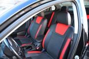 Фото 2 - Чехлы MW Brothers Mitsubishi Lancer X 1,5L (2007-2011), красные вставки + красная нить
