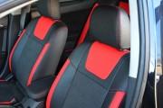 Фото 3 - Чехлы MW Brothers Mitsubishi Lancer X 1,5L (2007-2011), красные вставки + красная нить