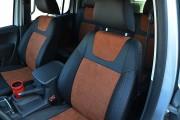 Фото 6 - Чехлы MW Brothers Volkswagen Amarok (2009-н.д.), коричневая алькантара + коричневая нить