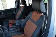Фото 8 - Чехлы MW Brothers Volkswagen Amarok (2009-н.д.), коричневая алькантара + коричневая нить