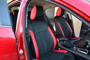 Фото 2 - Чехлы MW Brothers Mazda 3 III (2013-н.д.) красные вставки + красная нить