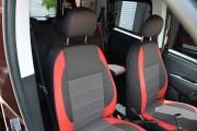 Фото 2 - Чехлы MW Brothers Fiat Doblo II (2010-2014), красные вставки + красная нить