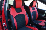 Фото 2 - Чехлы MW Brothers Mazda 2 (2007-2014), черно-красные + красная нить